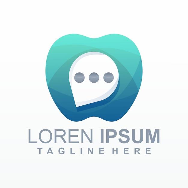 Vecteur de logo apple chat Vecteur Premium