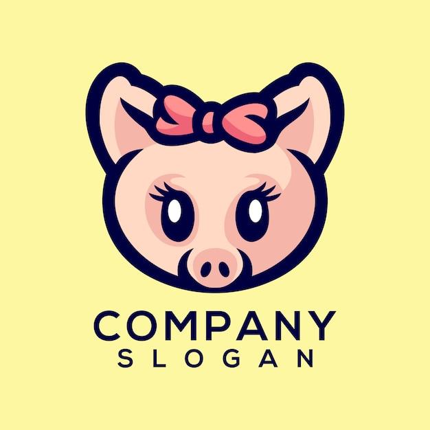 Vecteur de logo de cochon Vecteur Premium