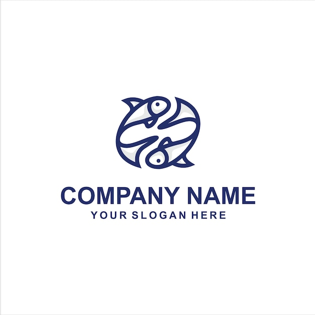 Vecteur de logo deux poissons Vecteur Premium