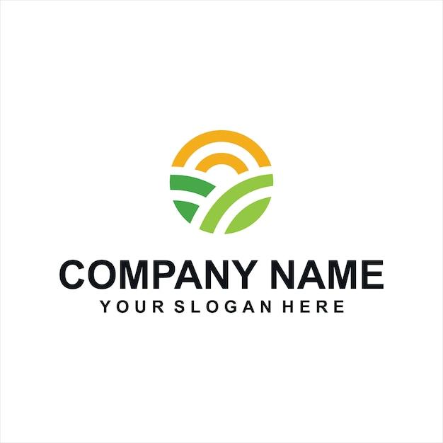 Vecteur de logo de fermes vertes Vecteur Premium