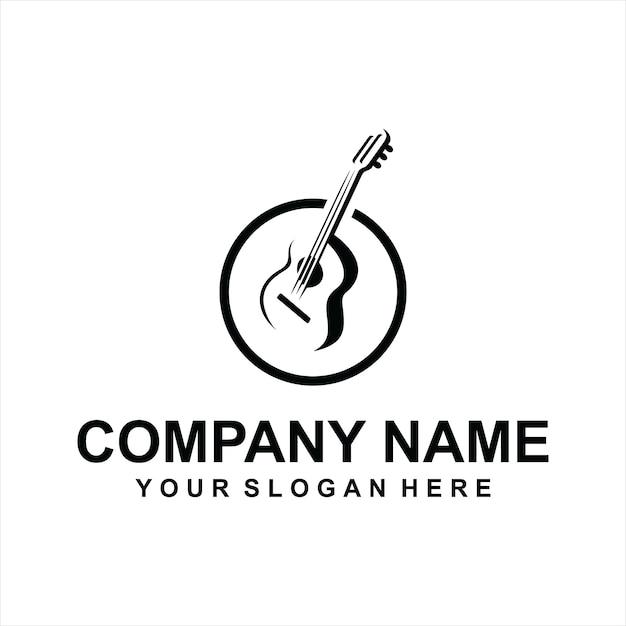 Vecteur de logo de guitare Vecteur Premium