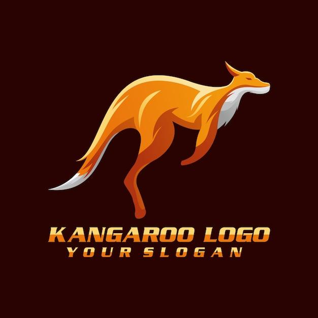Vecteur de logo kangourou, modèle, illustration Vecteur Premium