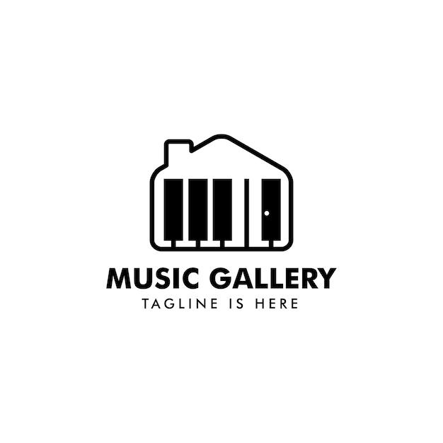 Vecteur de logo maison de musique Vecteur Premium