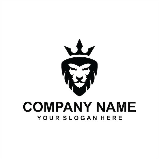 Vecteur de logo roi lion noir Vecteur Premium