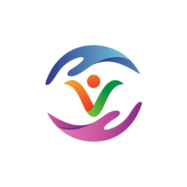 Vecteur de logo de soins des personnes à la main Vecteur Premium