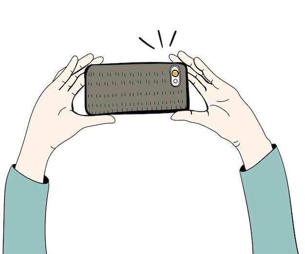 Vecteur, mains, prendre photo, à, smartphone Vecteur gratuit