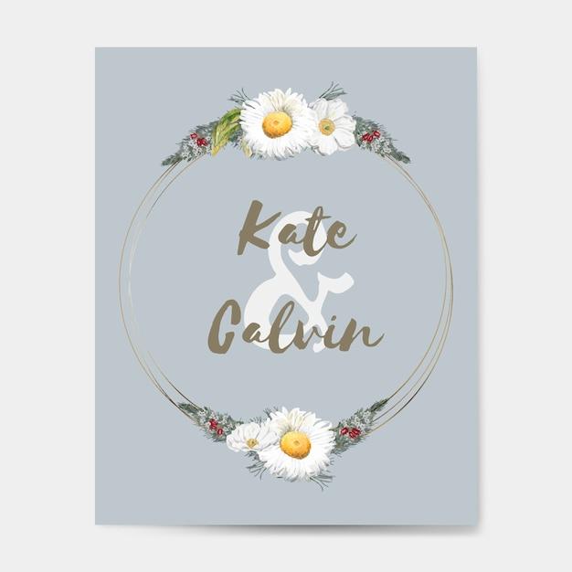 Vecteur de maquette de carte invitation mariage flore Vecteur gratuit