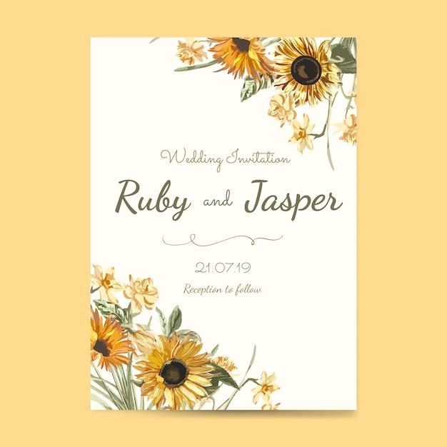 Vecteur de maquette carte invitation de mariage Vecteur gratuit