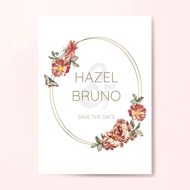 Vecteur de maquette invitation mariage floral Vecteur gratuit