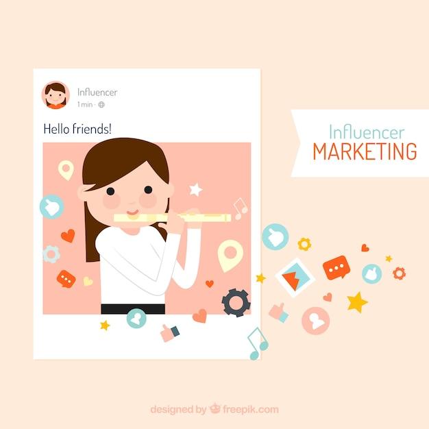 Vecteur de marketing influencer avec fille jouant de la flûte Vecteur gratuit