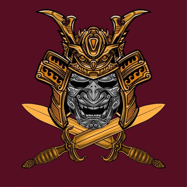 Vecteur de masque et d'épée samouraï Vecteur Premium
