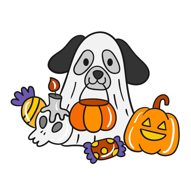 Vecteur mignon de chien d'halloween. Vecteur Premium