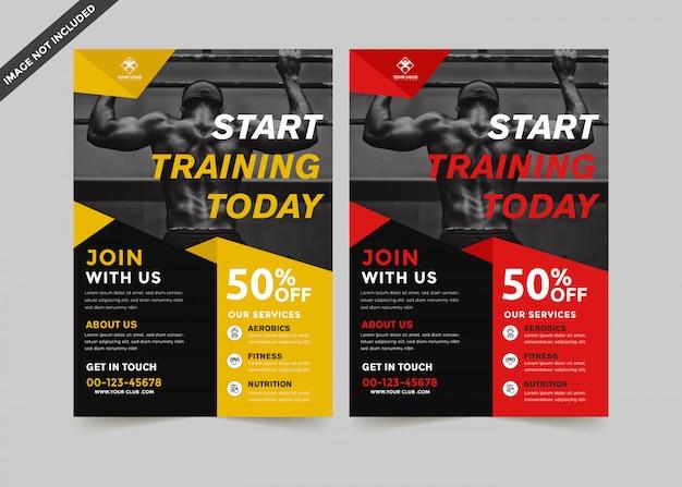 Vecteur de modèle flyer moderne gym premium Vecteur Premium