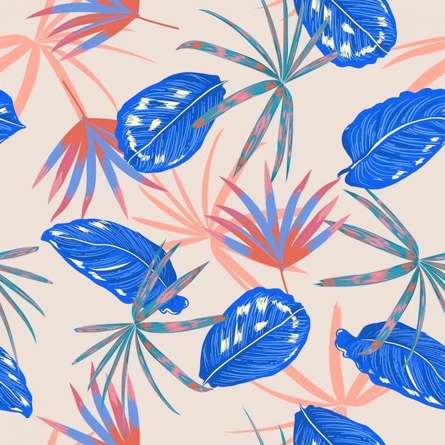 Vecteur de modèle sans couture, feuilles tropicales colorées et plante dans la conception estivale pastel de la forêt sauvage Vecteur Premium