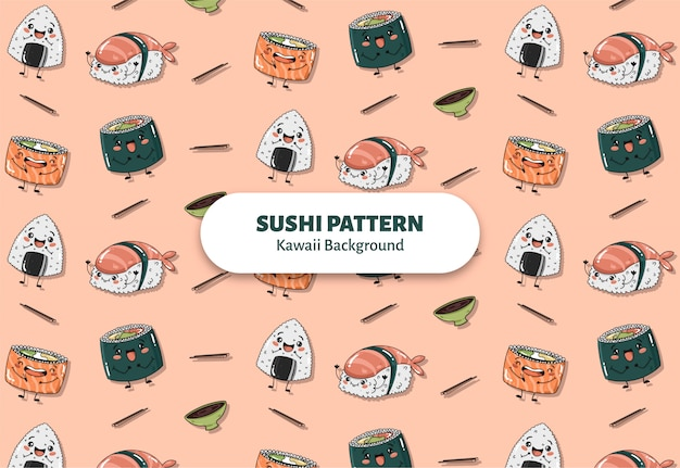 Vecteur de motif de sushi mignon Vecteur gratuit