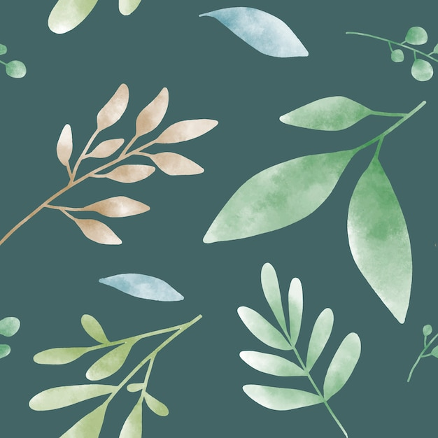 Vecteur de motifs aquarelle feuille verte Vecteur gratuit