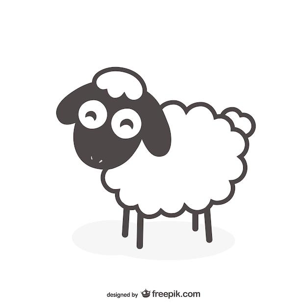 Vecteur de mouton noir et blanc Vecteur gratuit