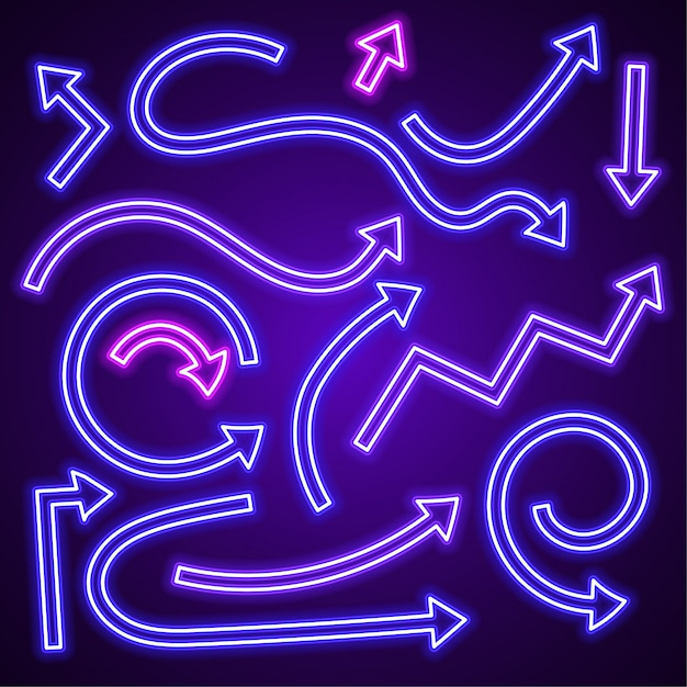 Vecteur de néon flèche violette définie. Vecteur Premium
