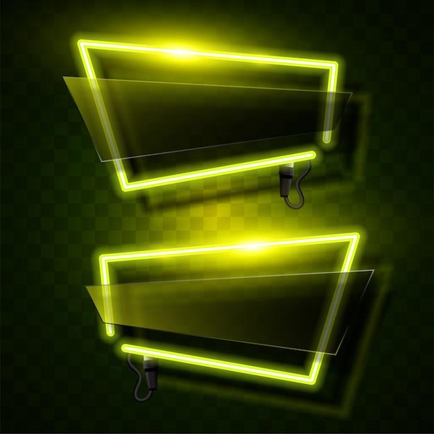 Vecteur de néon jaune. vecteur de bannière abstraite. Vecteur Premium