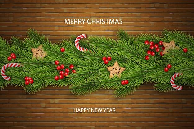 Vecteur De Noël Sur Fond De Brique Avec Des Voeux, Des Branches De Pin, Baies. Vecteur Premium