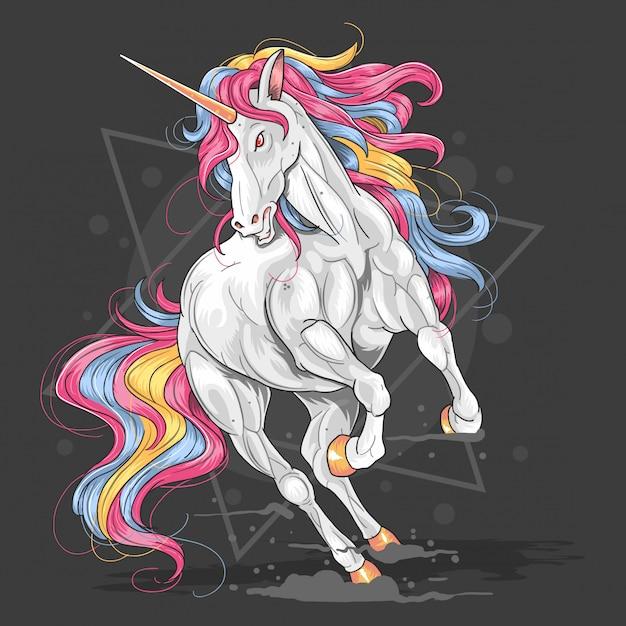 Vecteur de l'oeuvre de couleur unicorn Vecteur Premium