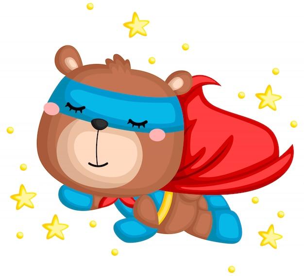 Un vecteur d'un ours dans un costume de super-héros Vecteur Premium