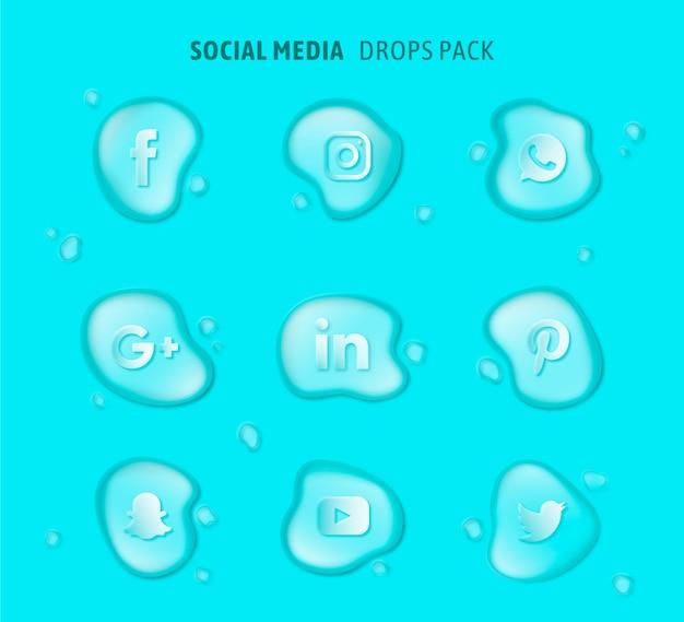 Vecteur de pack de logos de médias sociaux Vecteur gratuit