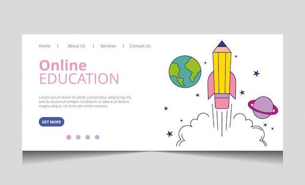 Vecteur de page de destination de l'éducation en ligne Vecteur Premium