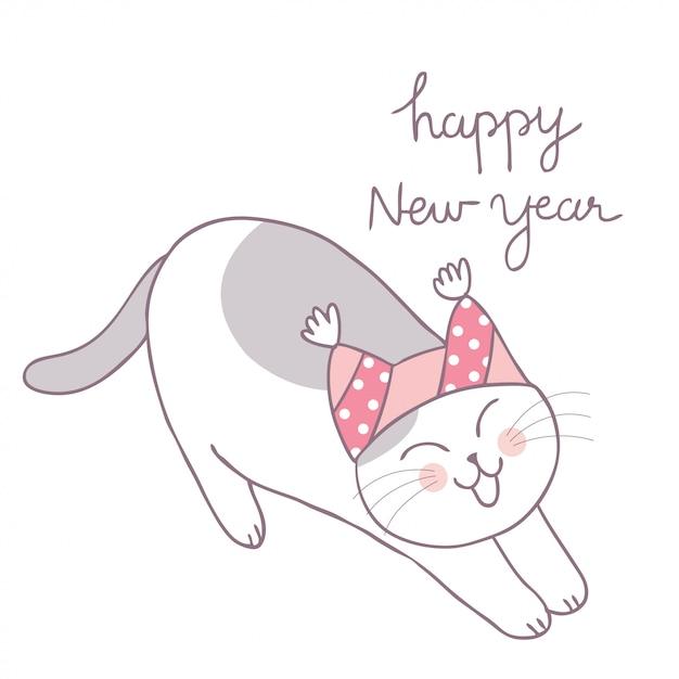 Vecteur paresseux de chat hiver mignons dessin animé. Vecteur Premium