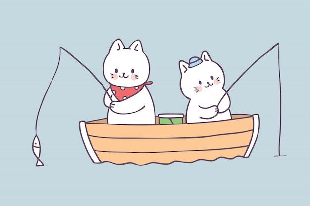 Vecteur de pêche chat été mignon de bande dessinée. Vecteur Premium
