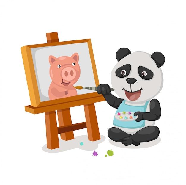 Vecteur de peinture panda Vecteur Premium