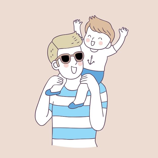 Vecteur de père et garçon mignon de bande dessinée. Vecteur Premium