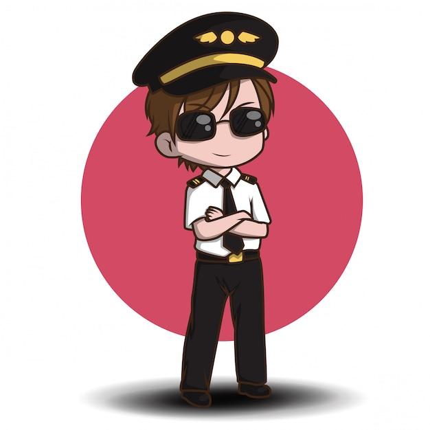 Vecteur pilote mignon. personnages de dessins animés Vecteur Premium