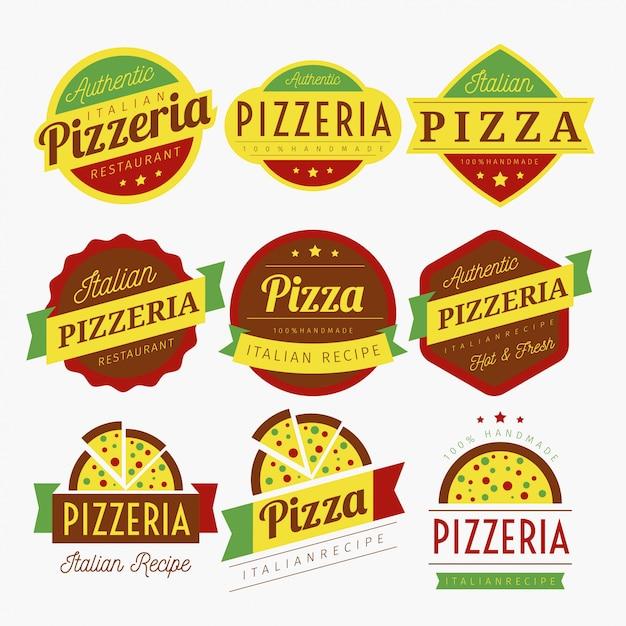 Vecteur de pizza labels Vecteur Premium