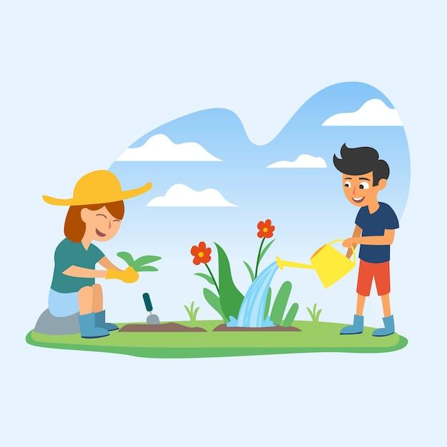 Vecteur plat illustration de jardinage Vecteur Premium