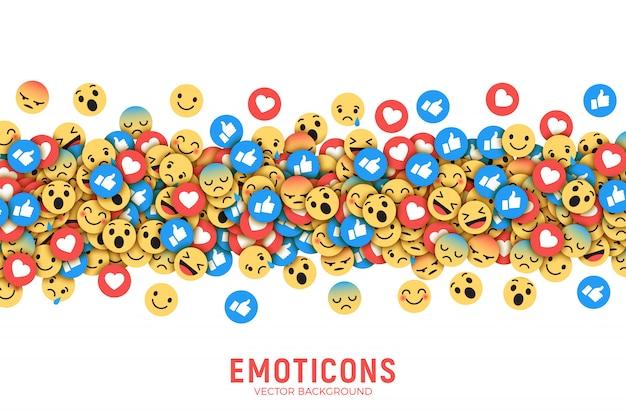 Vecteur plat moderne facebook émoticônes illustration d'art abstrait conceptuel Vecteur Premium
