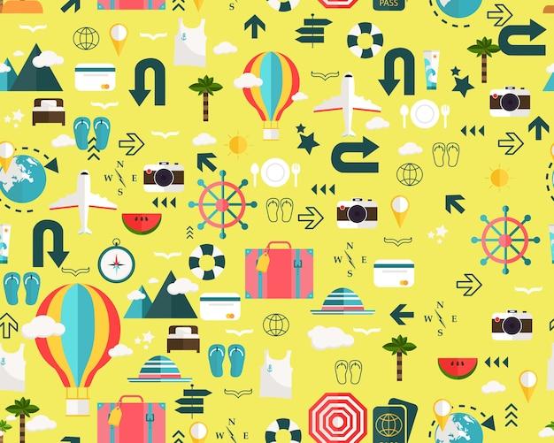 Vecteur Plat Sans Soudure Texture Motif Vacances Vacances Voyage Vecteur Premium
