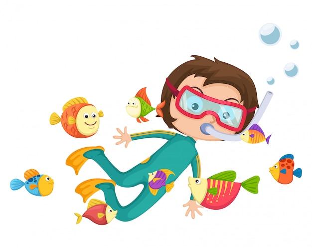 Vecteur de plongée sous-marine garçon Vecteur Premium