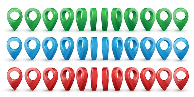 Vecteur de pointeurs de carte réaliste métallique brillant coloré situé dans divers angles. Vecteur Premium