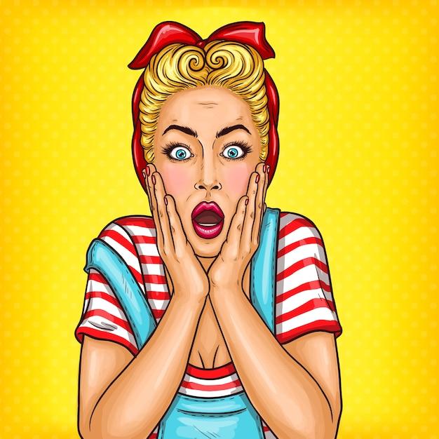 Vecteur pop art femme ménagère surprise avec bouche ouverte Vecteur gratuit