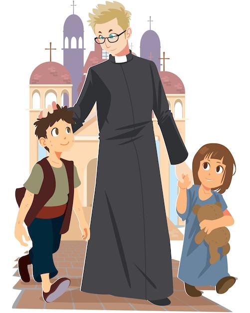 Vecteur de prêtre marchant avec des enfants sur le sol à l'extérieur du fond de l'église. Vecteur Premium