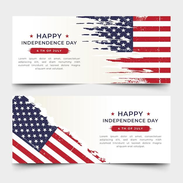 Vecteur de prime bannière fête de l'indépendance américaine Vecteur Premium