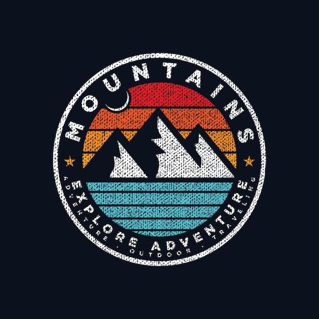 Vecteur De Prime Emblème Montagne Aventure Logo Vecteur Premium