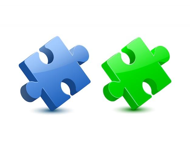 Vecteur de puzzle vert bleu 3d ang Vecteur Premium