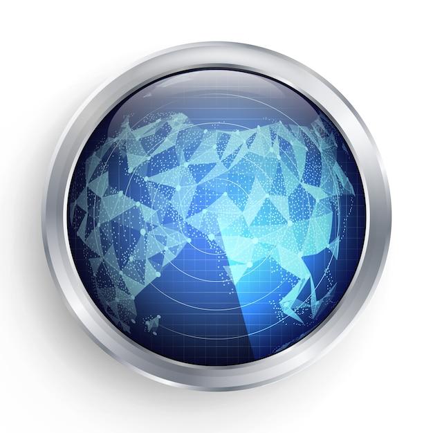 Vecteur radar. asie. illustration radar abstraite. écran cible hightech spaceship Vecteur Premium