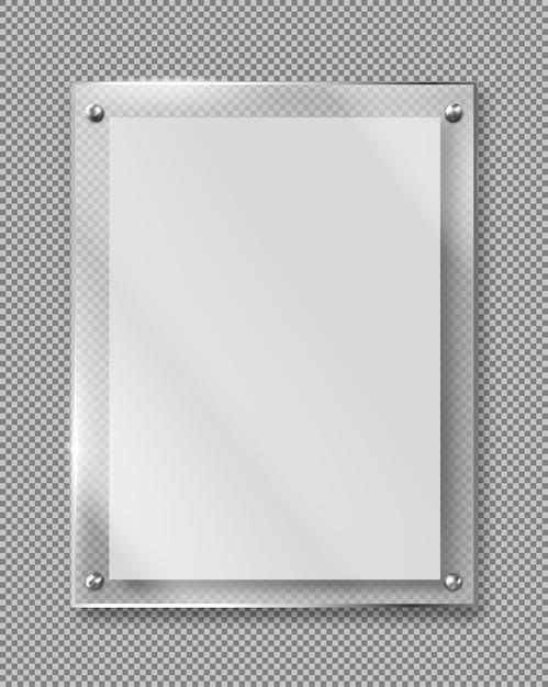 Vecteur Réaliste De Cadre Verre Plaque Méthacrylate Blanc Vecteur gratuit