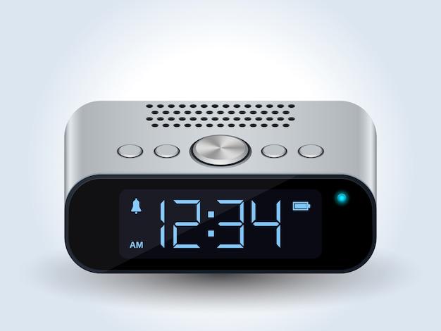 Vecteur réaliste d'horloge de bureau numérique Vecteur Premium