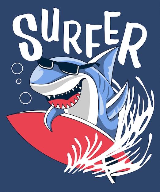 Vecteur de requin surfeur avec planche de surf Vecteur Premium