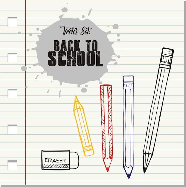 Vecteur de retour à l'école, crayons de doodle et effaceur Vecteur Premium