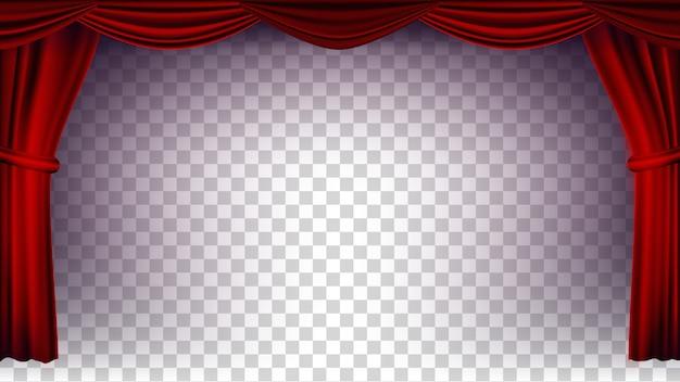 Vecteur de rideau de théâtre rouge. fond transparent pour concert, théâtre, opéra ou cinéma. scène vide en soie, scène rouge. illustration réaliste Vecteur Premium